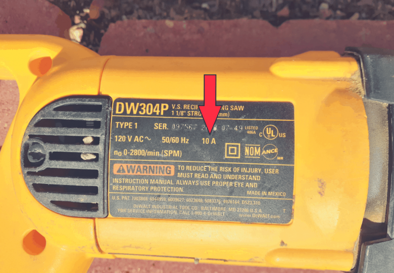 Amp rating on power tool